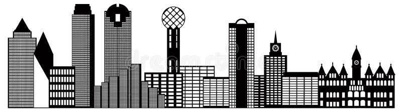 Иллюстрация плана горизонта города Далласа черно-белая иллюстрация вектора