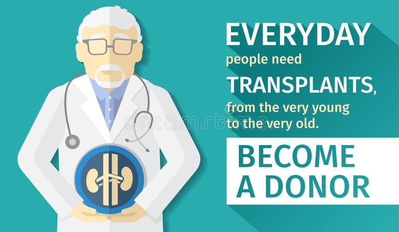 Иллюстрация плоского дизайна органы трансплантации плаката Становится даритель иллюстрация вектора