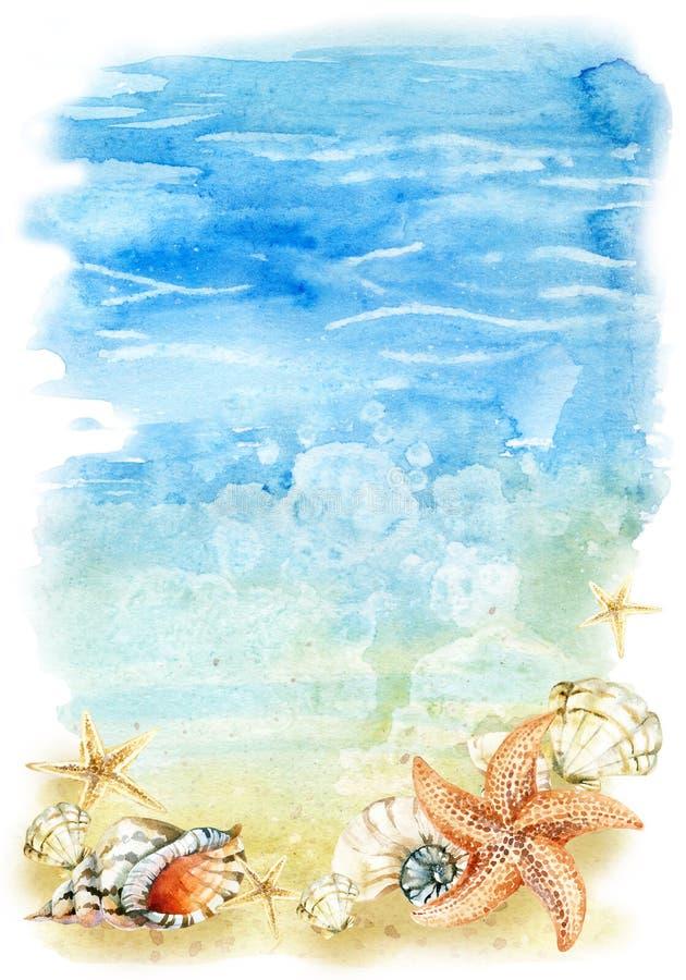 Иллюстрация пляжа акварели с раковинами и морскими звёздами моря иллюстрация вектора