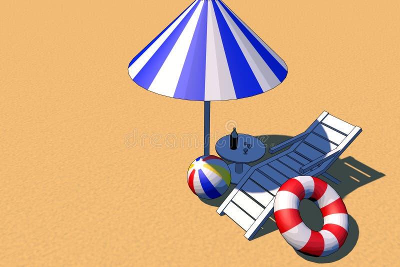 Иллюстрация пляжа лета стоковые изображения rf