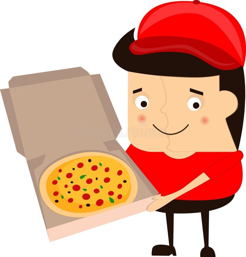 Иллюстрация работника доставляющего покупки на дом пиццы шаржа смешная на белой предпосылке бесплатная иллюстрация