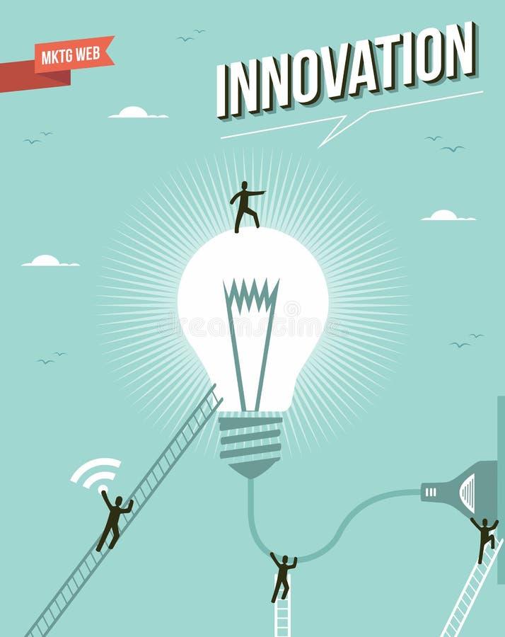 Иллюстрация рабочей группы электрической лампочки идеи нововведения. иллюстрация вектора