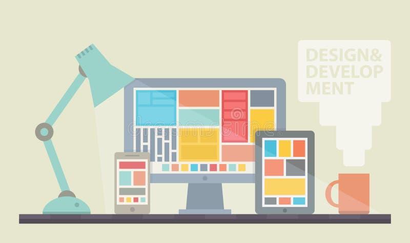 Иллюстрация развития веб-дизайна иллюстрация вектора
