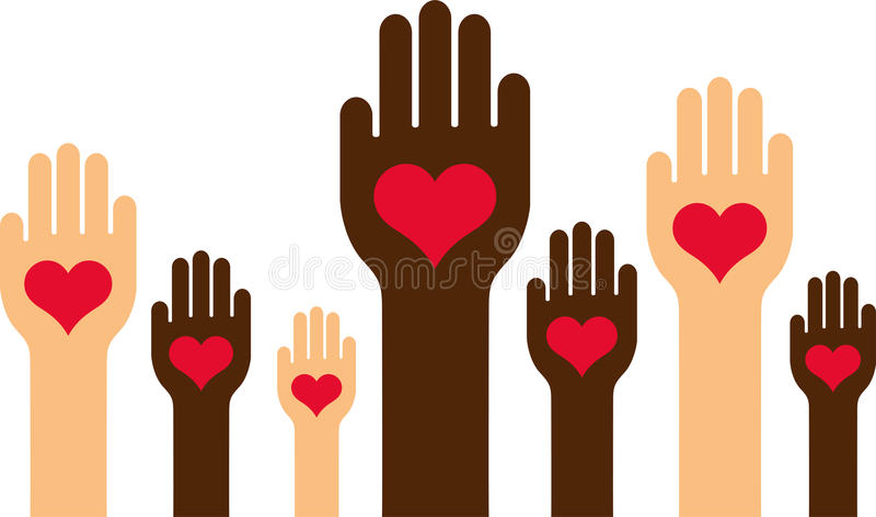 Разнообразные руки с сердцами бесплатная иллюстрация