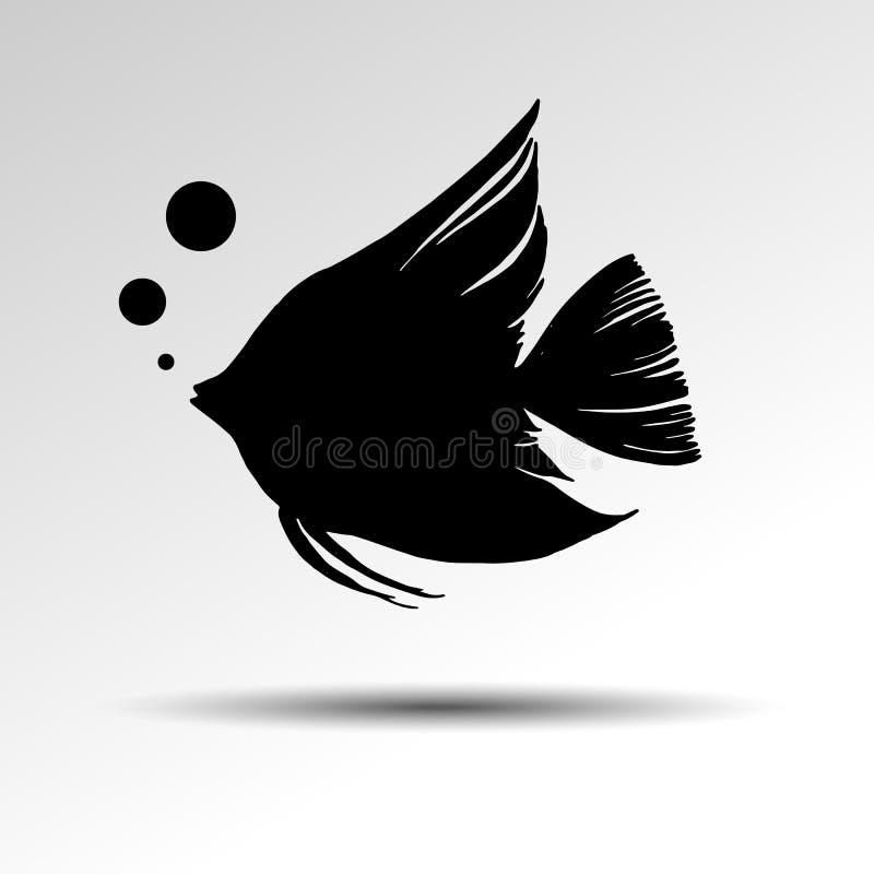 Иллюстрация различных видов силуэта рыб иллюстрация вектора