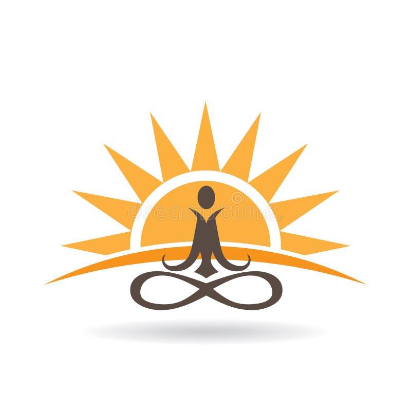 Иллюстрация раздумья захода солнца йоги иллюстрация вектора