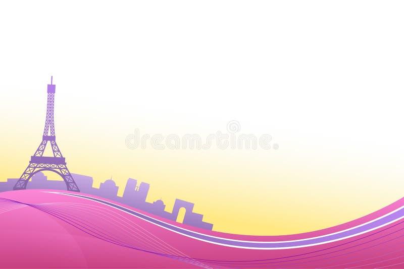 Иллюстрация рамки перемещения Эйфелевой башни Парижа абстрактного пинка предпосылки фиолетовая иллюстрация штока