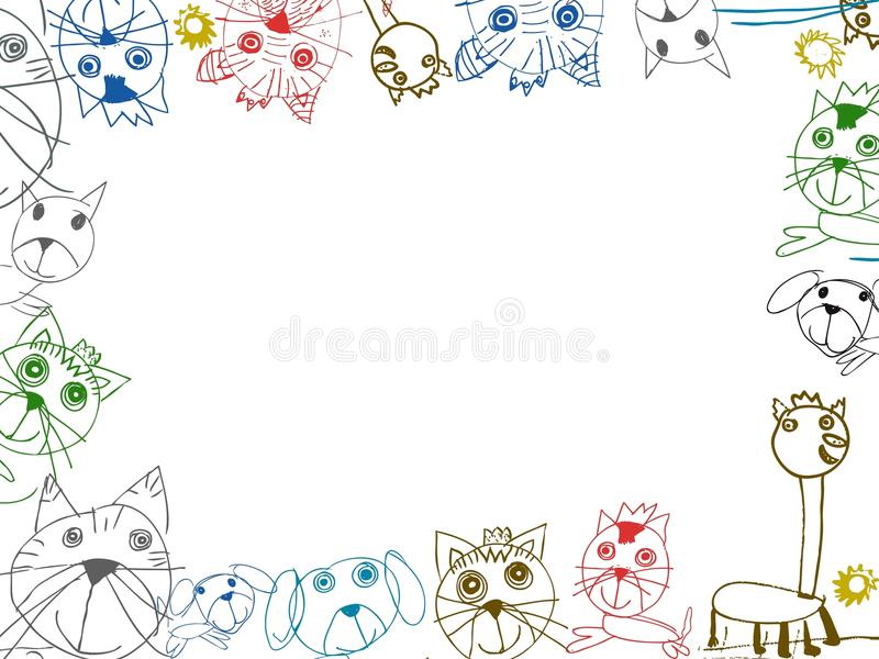 Иллюстрация рамки предпосылки чертежей детей иллюстрация вектора