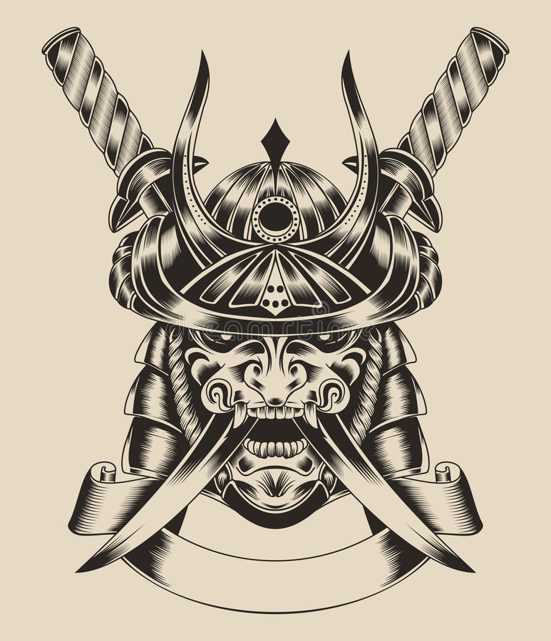 Иллюстрация ратника маски с шпагами иллюстрация вектора