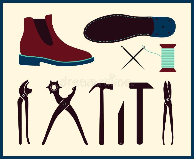 Иллюстрация ремонта ботинка вектора Комплект инструментов сапожника Обувь handmade сапожника бесплатная иллюстрация