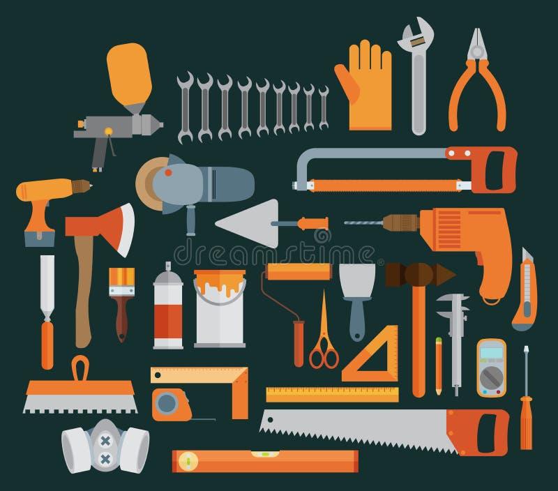Иллюстрация ремонта и конструкции с значками инструментов деятельности бесплатная иллюстрация