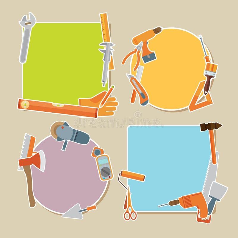Иллюстрация ремонта и конструкции с значками инструментов деятельности иллюстрация вектора