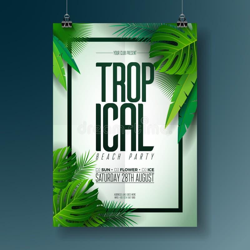 Иллюстрация рогульки партии пляжа лета вектора с типографским дизайном на предпосылке природы с ладонью выходит иллюстрация штока