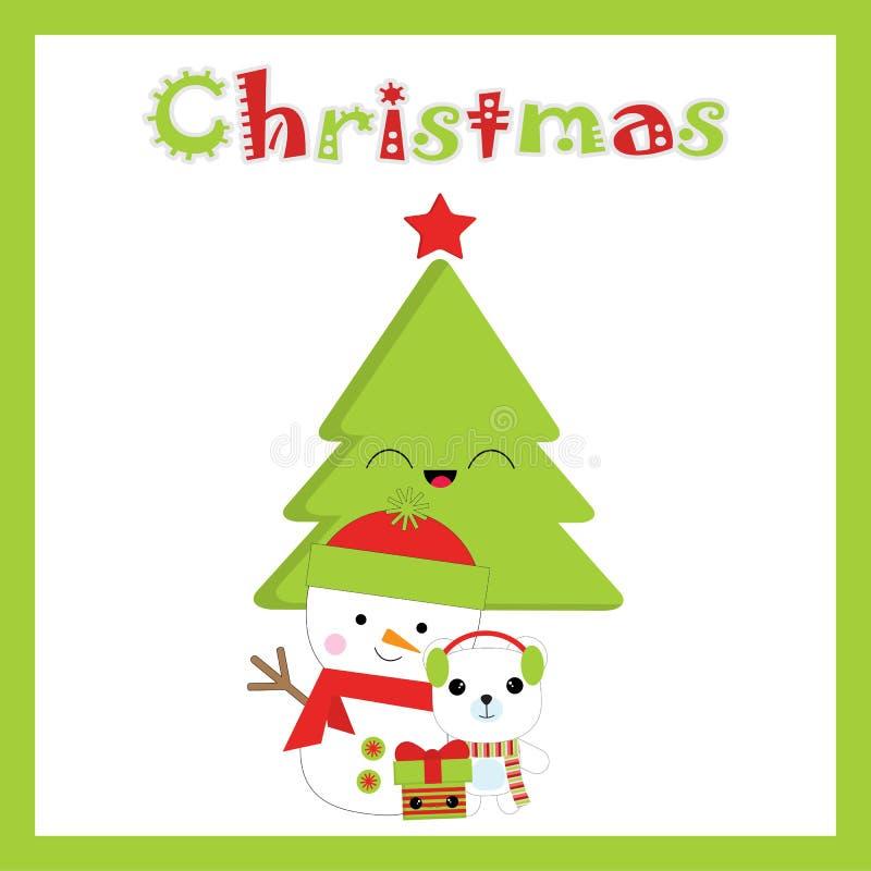 Иллюстрация рождества с милым снеговиком, медведем, и деревом Xmas соответствующим для поздравительной открытки, открытки и обоев бесплатная иллюстрация