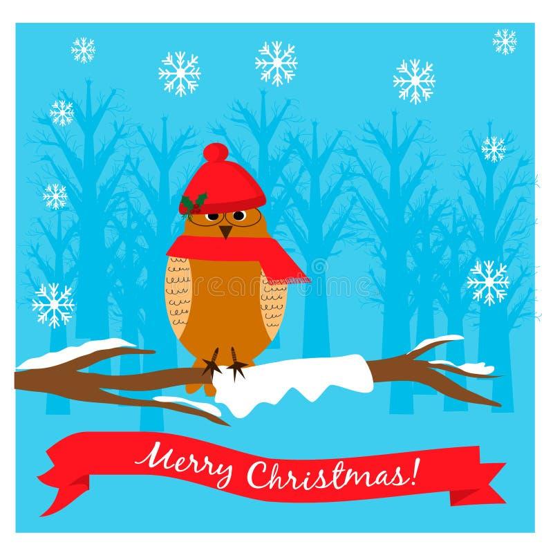 Иллюстрация рождества с милым сычом в крышке на ветви дерева иллюстрация штока