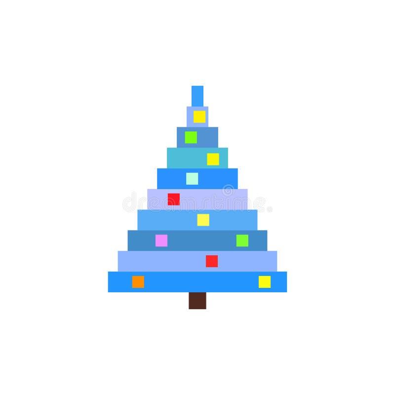 Иллюстрация рождественской елки искусства пиксела голубая сосенка иллюстрация вектора