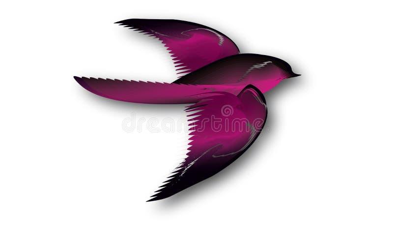 Иллюстрация розовой и черной птицы стоковое изображение rf