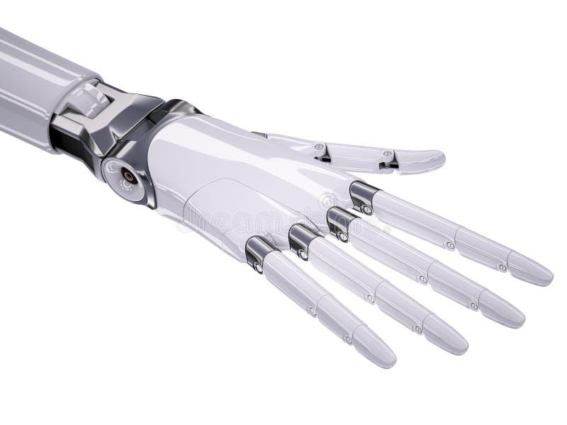 Иллюстрация руки 3d киборга похожая на Человеческ изолированная на белизне иллюстрация штока