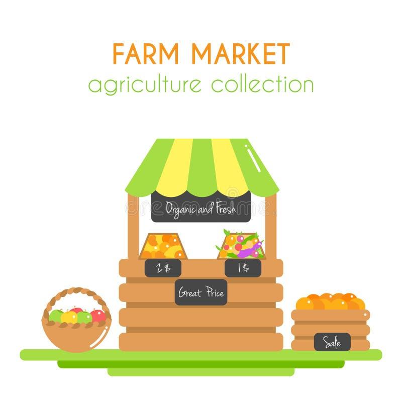 Иллюстрация рынка фермы Стойл вектора с плодоовощами и veggies овощи фермы свежие Магазин Vegan Плоское argiculture иллюстрация вектора