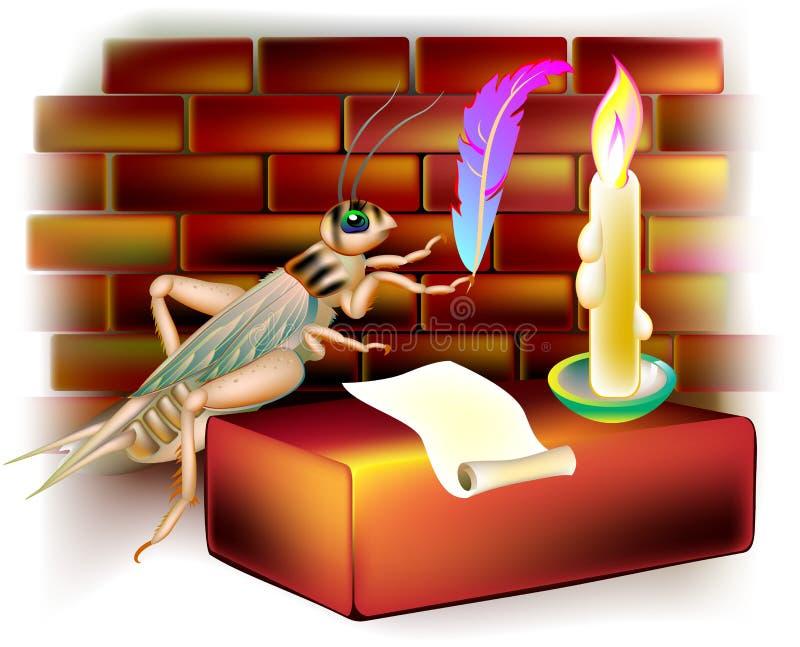 Иллюстрация сверчка фантазии писать письмо во время nighttime иллюстрация штока