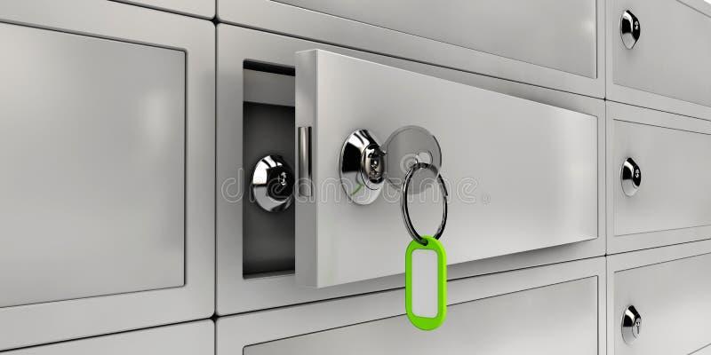 Иллюстрация сейфов Open, реалистический объект иллюстрация штока