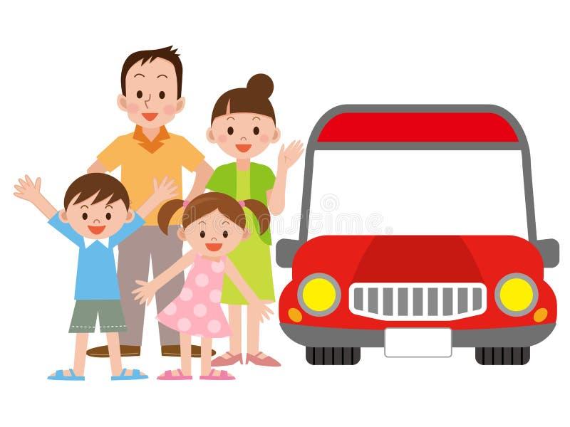Иллюстрация семьи и автомобиля иллюстрация штока