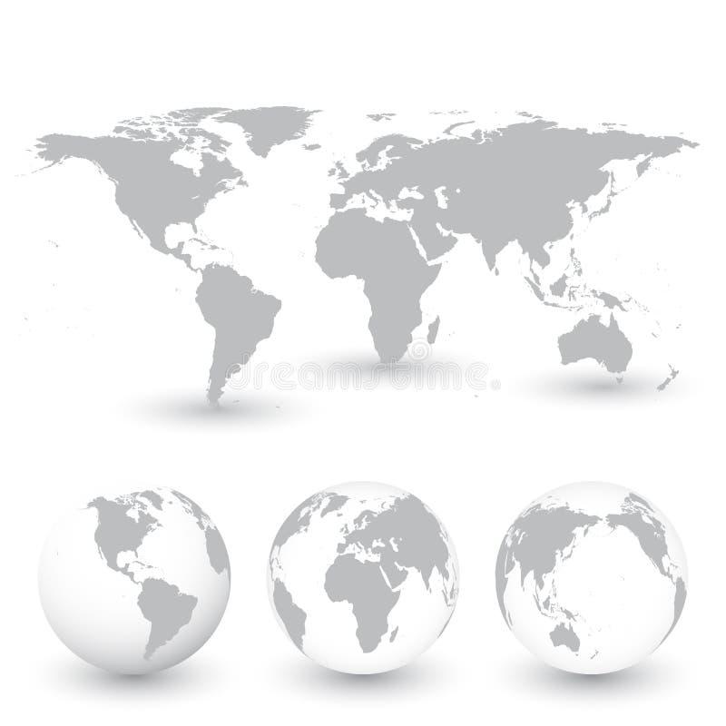 Иллюстрация серого вектора карты и глобусов мира бесплатная иллюстрация