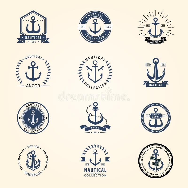 Иллюстрация символа винтажного ретро элемента океана моря знака вектора значка анкера графического морская военноморская иллюстрация вектора