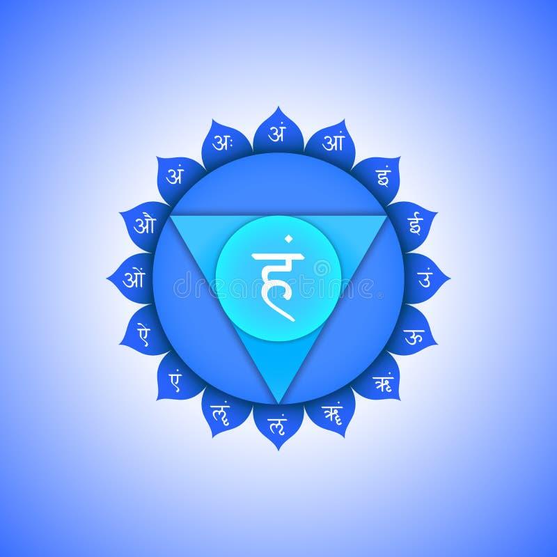 Иллюстрация символа Vishuddha chakra вектора иллюстрация штока