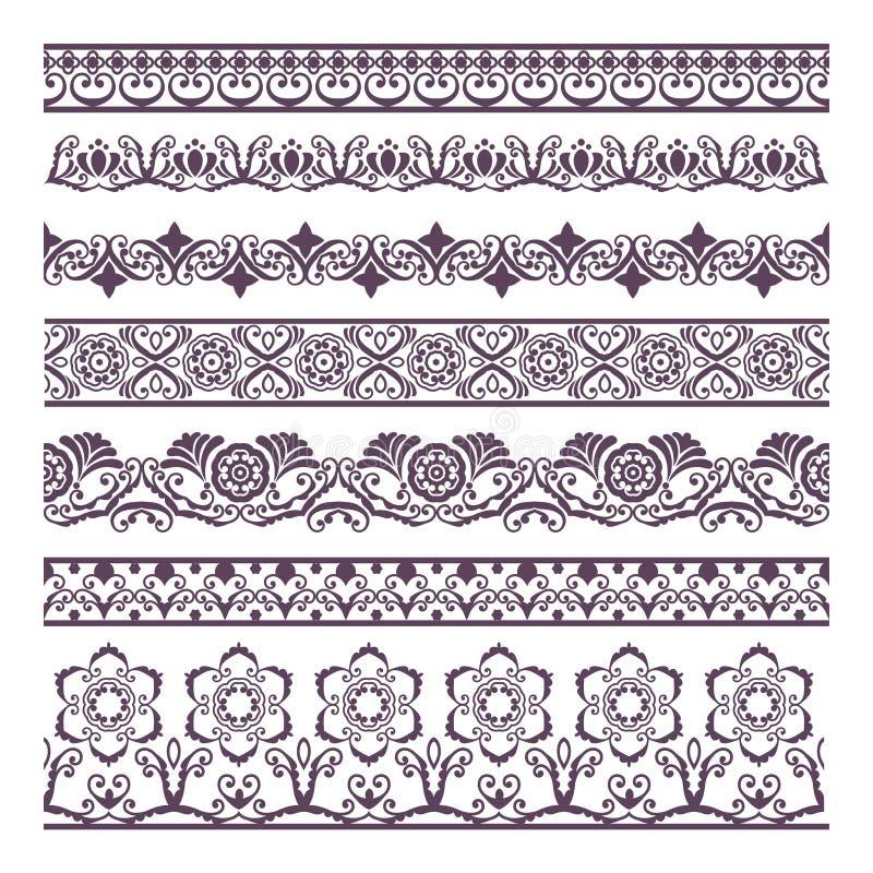 Иллюстрация силуэтов границы флористическая установила для знамен и ethn иллюстрация вектора