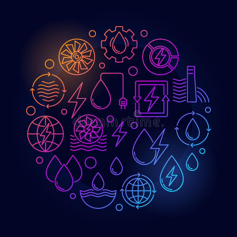 Иллюстрация силы воды круглая красочная иллюстрация вектора