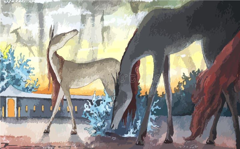 Иллюстрация сказки акварели животная, вектор бесплатная иллюстрация