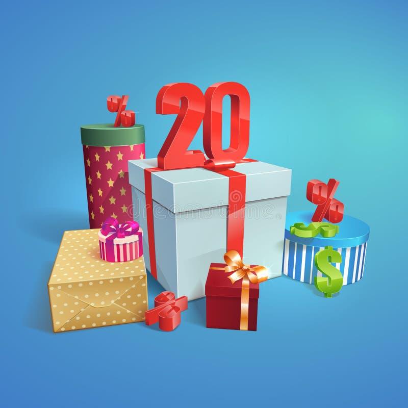 Иллюстрация скидки изображение подарка проверки коробок мое портфолио подобное 20 процентов бесплатная иллюстрация