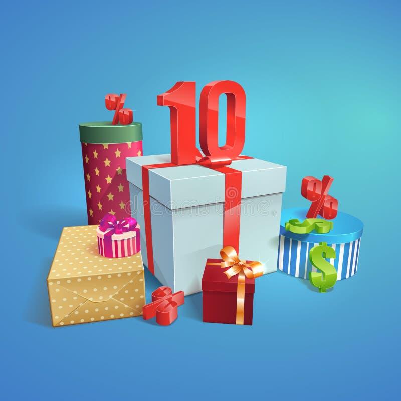 Иллюстрация скидки изображение подарка проверки коробок мое портфолио подобное 10 процентов иллюстрация вектора
