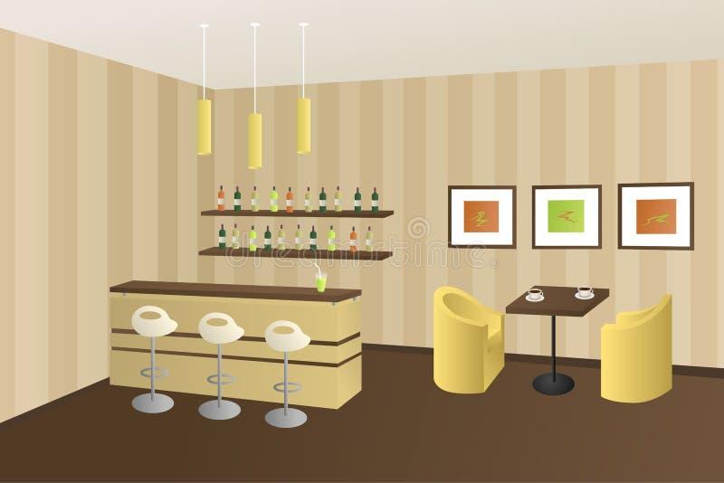 Иллюстрация современного внутреннего бара кофейни кафа бежевая коричневая бесплатная иллюстрация