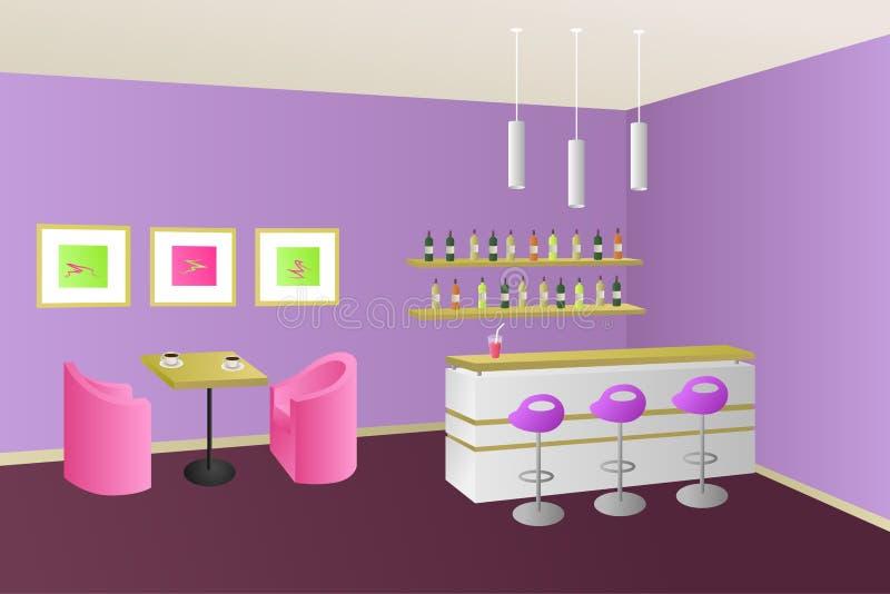 Иллюстрация современного внутреннего бара кофейни кафа фиолетовая розовая бесплатная иллюстрация