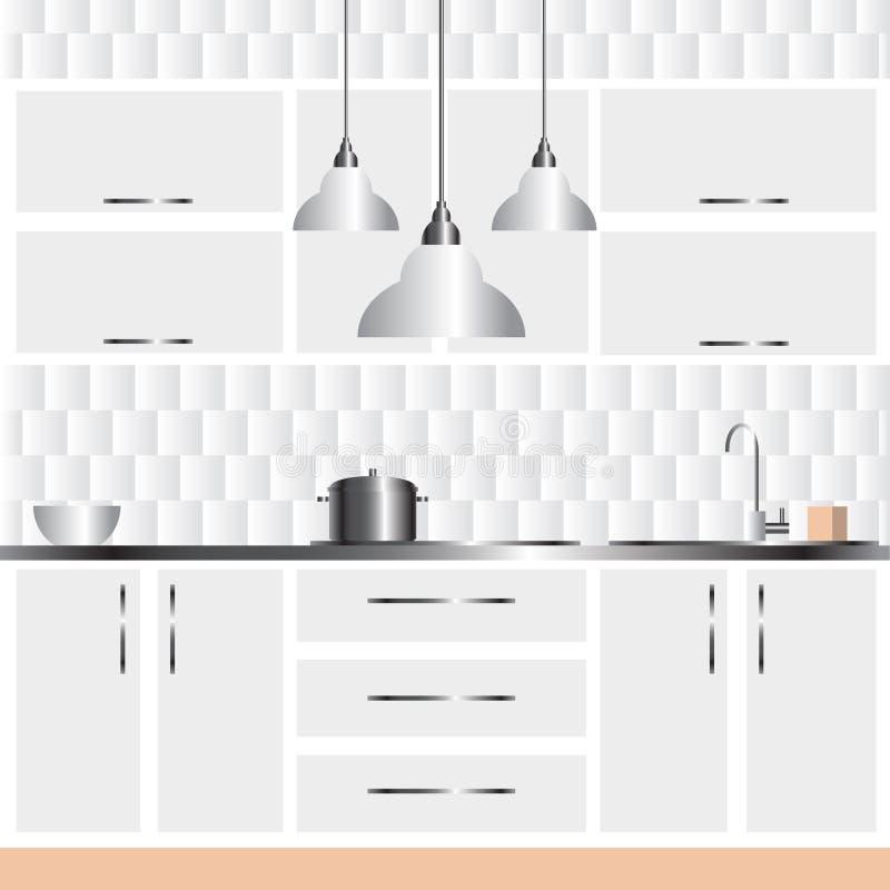 Иллюстрация современного дизайна интерьера кухни иллюстрация вектора