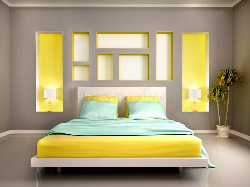 Иллюстрация современного интерьера спальни с желтой кроватью и n иллюстрация вектора