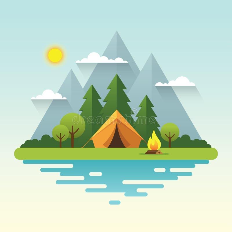 Иллюстрация солнечного дня располагаясь лагерем в плоском стиле иллюстрация штока