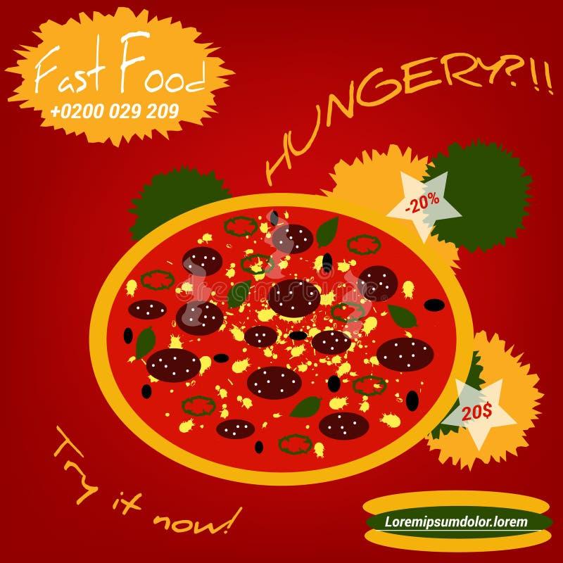 Иллюстрация стиля пиццы плоская иллюстрация вектора