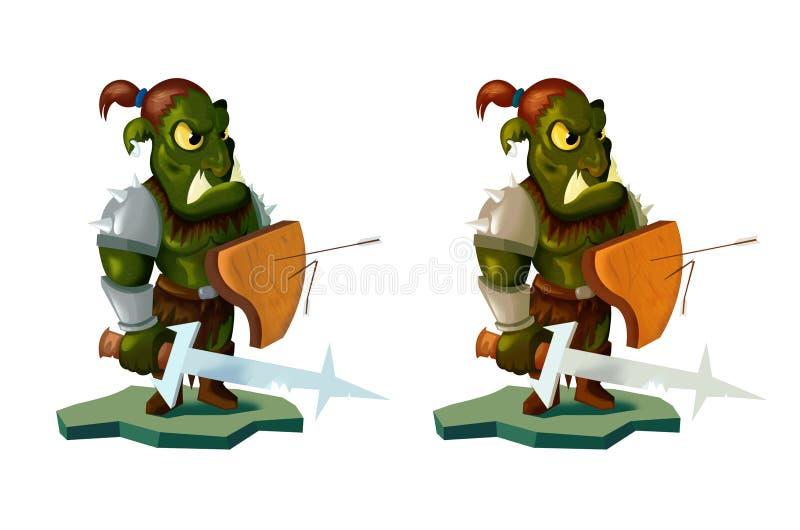 Иллюстрация стиля шаржа ратника orc владея шпагой и экраном фронт на белой предпосылке бесплатная иллюстрация