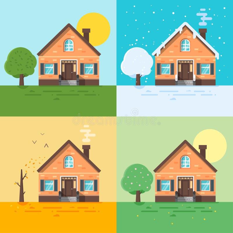 Иллюстрация стиля Ector плоская домов в различных сезонах иллюстрация штока