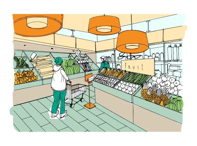 Иллюстрация супермаркета внутренней нарисованная рукой красочная Гастроном, vegetable отдел иллюстрация штока