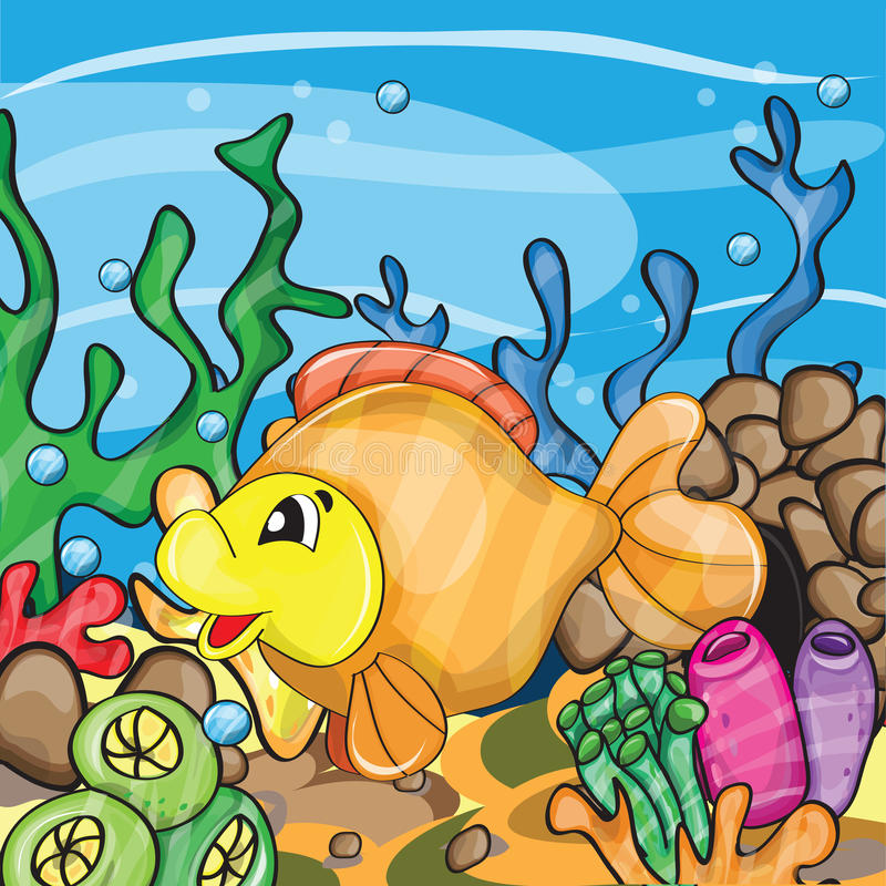 Иллюстрация счастливой рыбки иллюстрация вектора