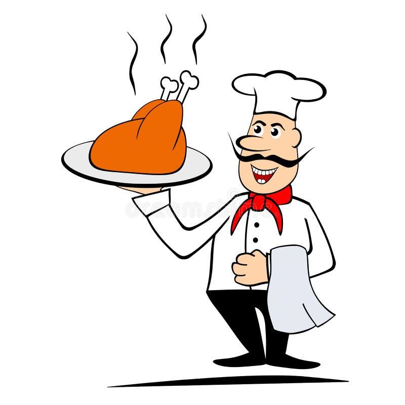 Шеф-повар держа зажарено в духовке chiken бесплатная иллюстрация