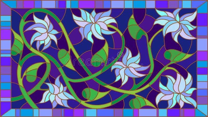 Иллюстрация с абстрактными голубыми цветками на голубой предпосылке в рамке, горизонтальная ориентация цветного стекла бесплатная иллюстрация