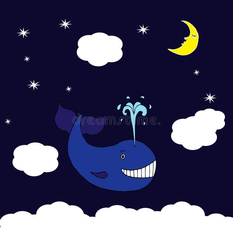 Иллюстрация с голубым китом летания бесплатная иллюстрация