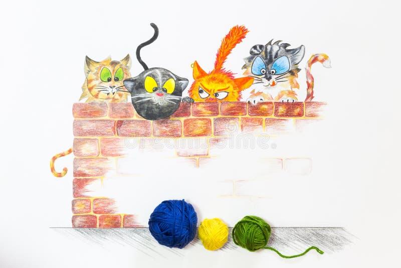 Иллюстрация с группой в составе милые коты и красочные шарики шерстей стоковое фото