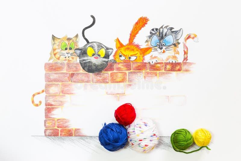 Иллюстрация с группой в составе милые коты и красочные шарики шерстей стоковые изображения