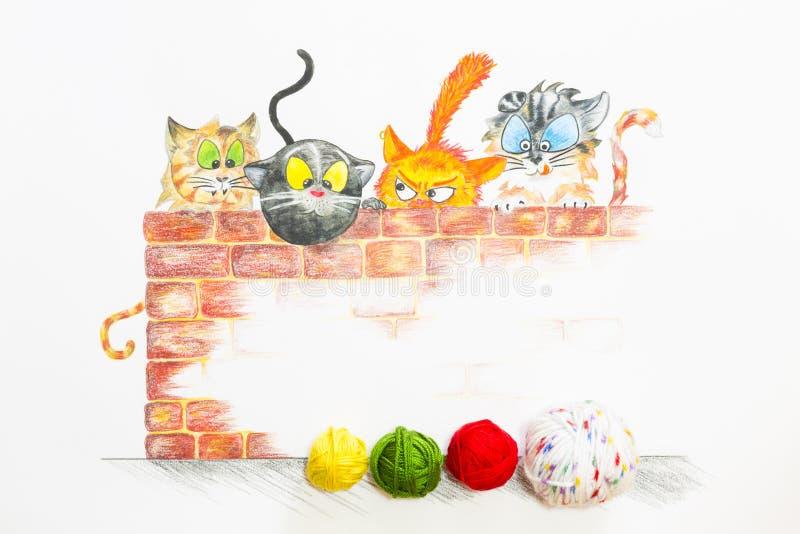 Иллюстрация с группой в составе милые коты и красочные шарики шерстей стоковые фотографии rf